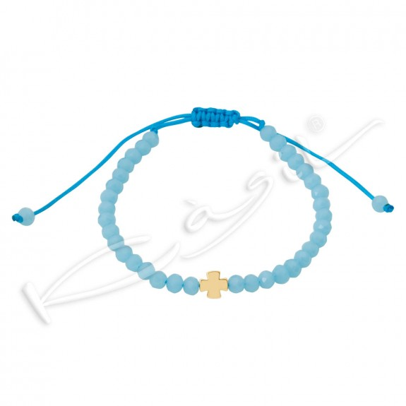 Гривна с кръст и кристали Baby blue