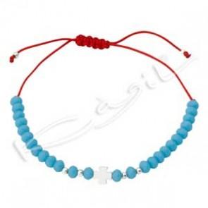 Гривна със сребърен кръст и сини кристали